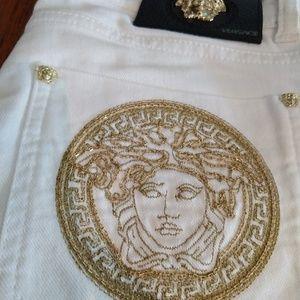 Versace White Medusa Logo Jeans